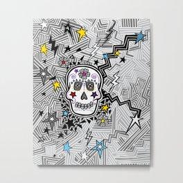 """Zag"" Sugar Skull Metal Print"