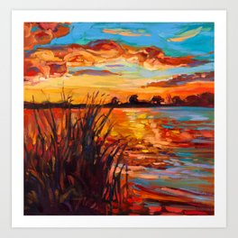 Sunset over lake Art Print