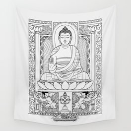 Buddha Black & White Wall Tapestry