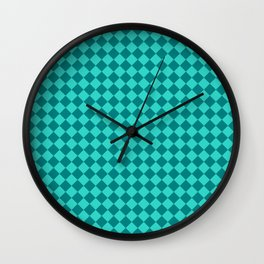 Teal and Turquoise Diamonds Wall Clock