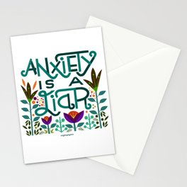 Anxiety is A Liar (teal) Stationery Cards