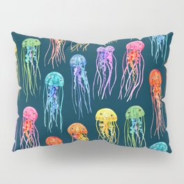 Rainbow Watercolor Jellies on Dark Teal Pillow Sham