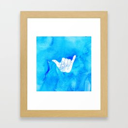 Surf Hang Loose Hawaiian Ocean Blue Hip Watercolor Framed Art Print
