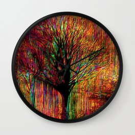 Abstract tree on a colorful background Wall Clock
