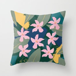 Pink Tropical Flowers and Leaves Throw Pillow