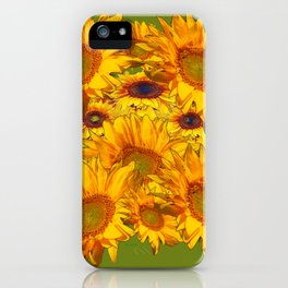 Avocado Color Sunflowers Abstract Art iPhone Case