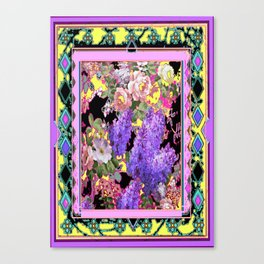 Western Style Lilac's & Roses Garden Design Canvas Print