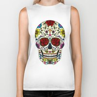 sugar skull Biker Tanks featuring Sugar Skull by Jade Boylan