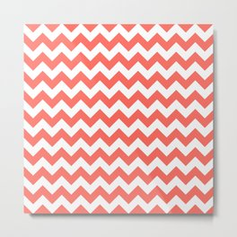 Coral Chevron- Small Metal Print