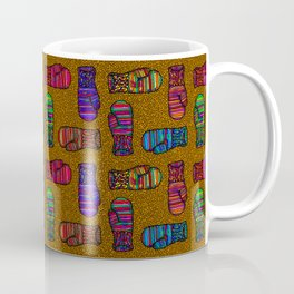 COLORFUL MITTENS ON MUSTARD YELLOW Coffee Mug