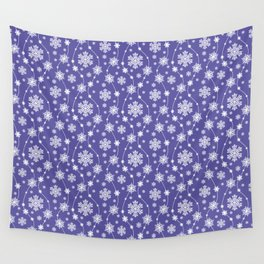 Purple Holiday Snowflake Pattern Wall Tapestry