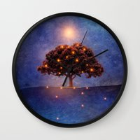 lights Wall Clocks featuring Energy & lights by Viviana Gonzalez