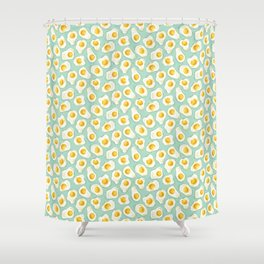 fried egg eggs sunny side up cute food pattern Shower Curtain