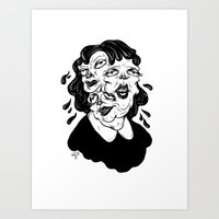 agnes Art Prints featuring Europa, Agnes and Phyllis by Anna Lisa Illustration