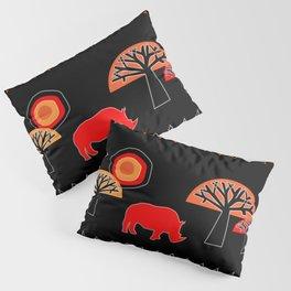 African Rhino (Hot colors) - by Kara Peters Pillow Sham