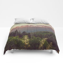 Mountain Sunset Bliss - Nature Photography Comforters