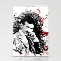 tesla Stationery Cards featuring Nikola Tesla by viva la revolucion