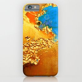 Glitter Gold Fairy Dust With Splash Of Blue Abstract iPhone Case