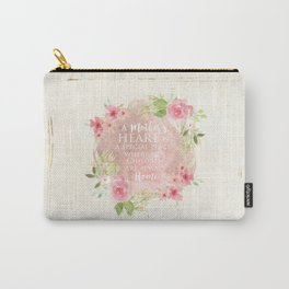 Typography A Mothers Heart Carry-All Pouch