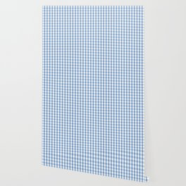 Classic Pale Blue Pastel Gingham Check Wallpaper