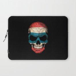 Dark Skull with Flag of Thailand Laptop Sleeve
