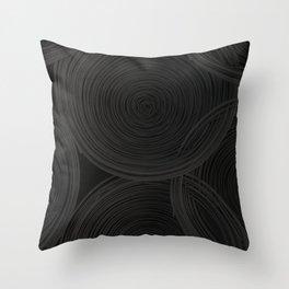 Black spiraled coils Throw Pillow