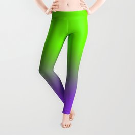 Neon Purple and Neon Green Ombré  Shade Color Fade Leggings
