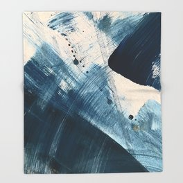 Against the Current [2]: A bold, minimal abstract acrylic piece in blue, white and gold Throw Blanket