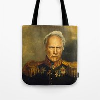 clint eastwood Tote Bags featuring Clint Eastwood - replaceface by replaceface
