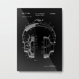 Headphones Patent - White on Black Metal Print