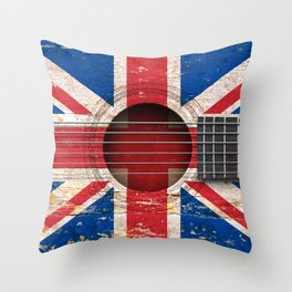 Old Vintage Acoustic Guitar with Union Jack British Flag Throw Pillow