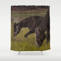 horses Shower Curtains featuring Horses by Andrea Vreken Art