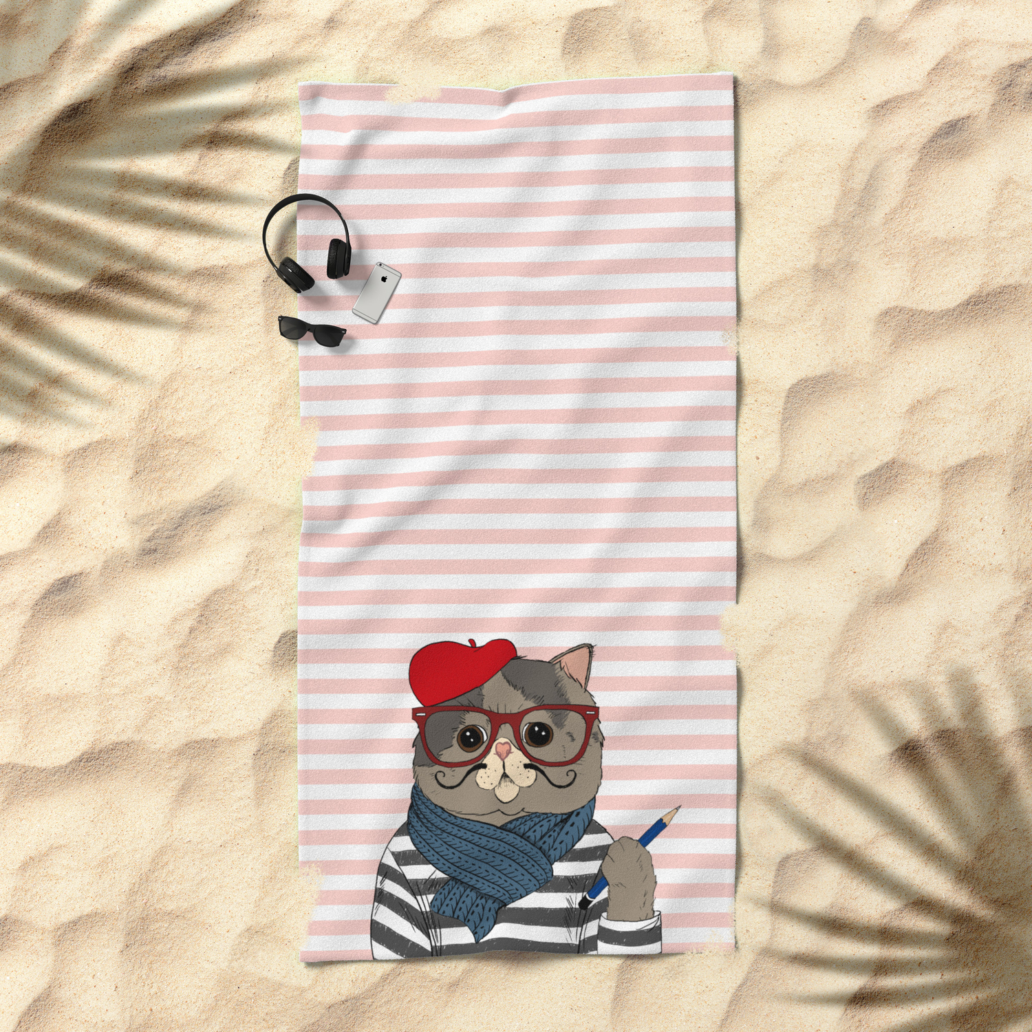 French Cat Beach Towel By Darynam