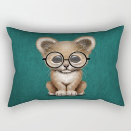 Cute Baby Lion Cub Wearing Glasses on Blue Rectangular Pillow