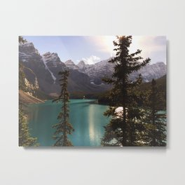 Canadian Rockies and river at summertime Metal Print