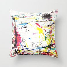 They Enjoy the Color Attack! Throw Pillow