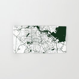 Amsterdam White on Green Street Map Hand & Bath Towel