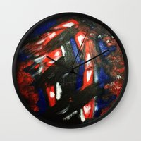 rave Wall Clocks featuring Rave by Myles Hunt