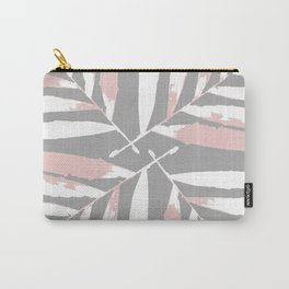 Geometric White pink on light-grey autumn fall tropical pattern Palm leaves Christmas society6 Carry-All Pouch