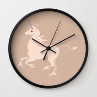 the last unicorn Wall Clocks featuring The Last Unicorn by Citron Vert
