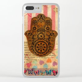 Hearts and Butterfly Hamsa Clear iPhone Case