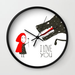 Little Red Riding Hood Loves Black Wolf Wall Clock