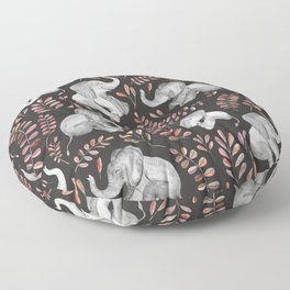 Laughing Baby Elephants - Coral Floor Pillow
