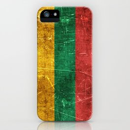 Vintage Aged and Scratched Lithuanian Flag iPhone Case