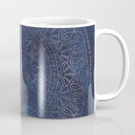 Vintage Circle of Life Mandala full color on blue swirl Distressed Coffee Mug