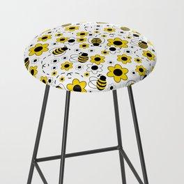 Honey Bumble Bee Yellow Floral Pattern Bar Stool