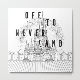 Off to Neverland: Black & White Metal Print