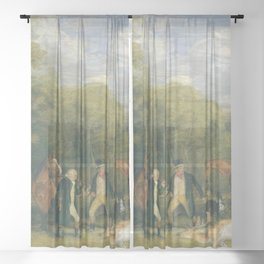 John Frederick Lewis - Buck-Shooting in Windsor Great Park Sheer Curtain