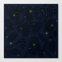 fireflies Canvas Prints featuring Fireflies by Helena's universe