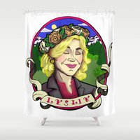leslie knope Shower Curtains featuring Leslie Knope by Rachel M. Loose